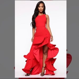 Red formal gown maxi dress for prom /formal event